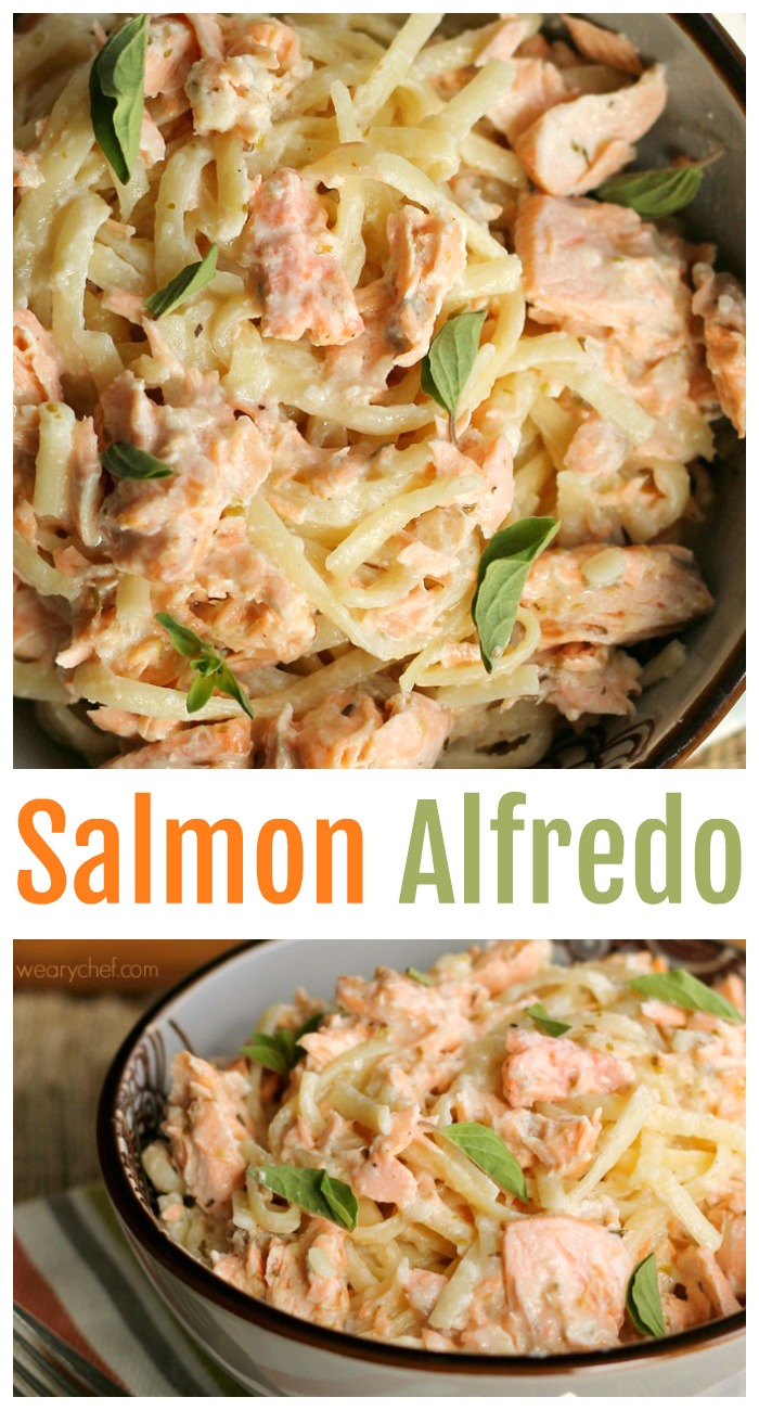 The rich flavor of the fish makes this scrumptious Salmon Alfredo seem more decadent than it really is. Perfect for guests or busy weeknight nights! #salmon #alfredo #pasta