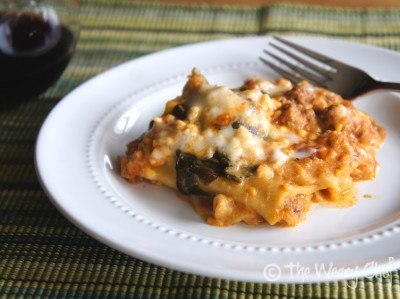 Slow Cooker Lasagna {with turkey sausage and spinach}