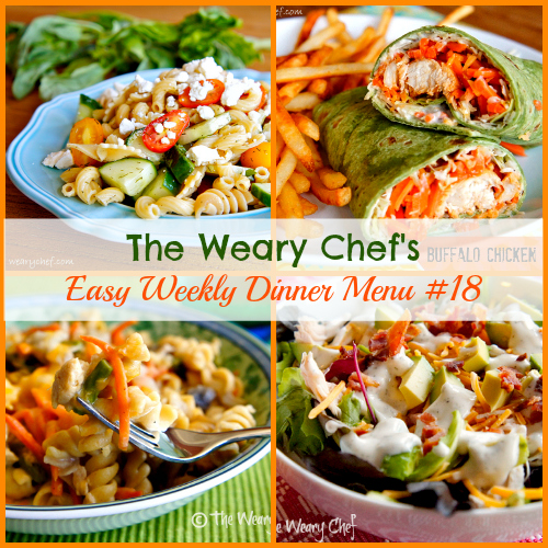 This easy weekly dinner menu features Ranch Turkey Club Salad, Chili Lime Fish Tacos, Tuna Noodle Casserole from Scratch, Buffalo Chicken Wraps, and more!