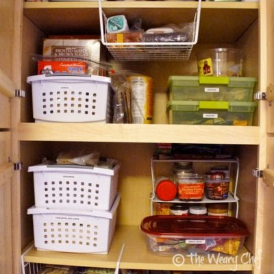 Remember all those boxes of cereal and crackers shoved all over the place? Now they are all organized together in bins.