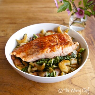 Salmon and Vegetable Rice Bowl - Dinner ready in 25 minutes! by @wearychef
