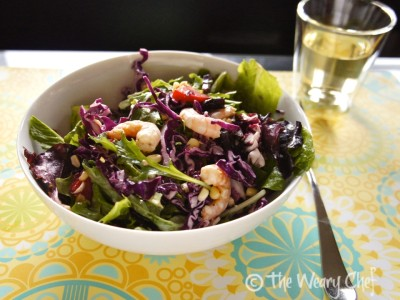 Shrimp Salad with Corn and Tangy Lime Dressing - Perfect #dinner #salad for a hot day! by @wearychef