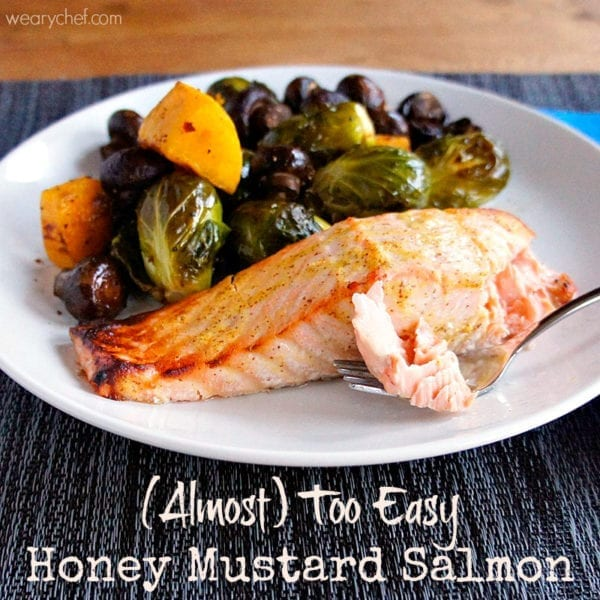 Almost Too Easy Honey Mustard Salmon - You will love this quick, easy, and delicious dinner recipe! #seafood