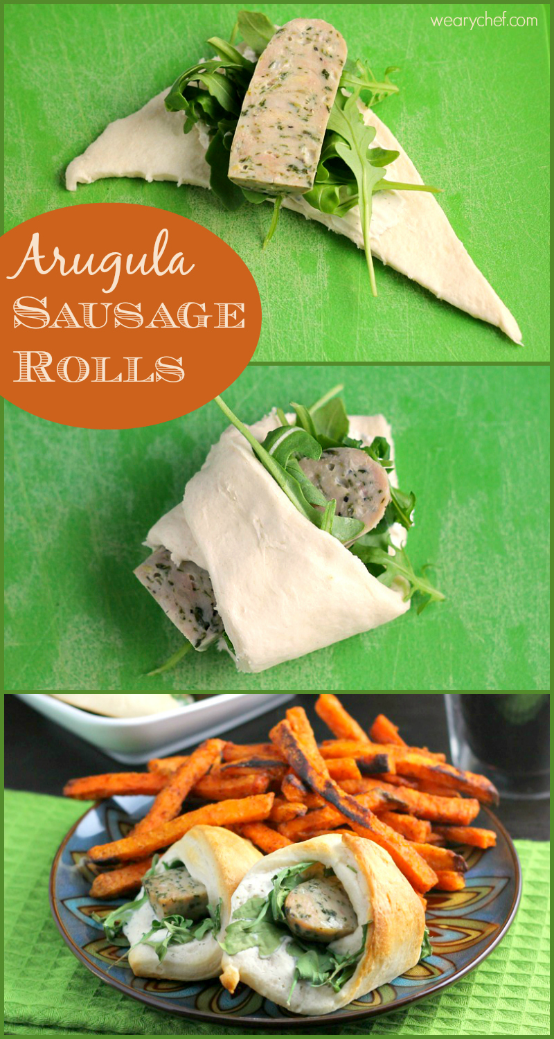 Sausage Rolls with Arugula - A fun and easy crescent roll recipe!
