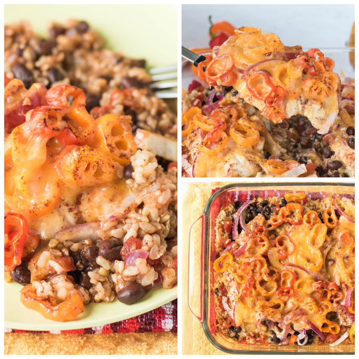 This very easy layered Southwest Chicken Casserole is an easy way to get the flavor or chicken fajitas with black beans and rice all in one pan!