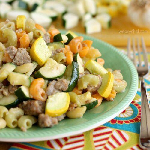 Skillet Sausage Pasta with Summer Vegetables