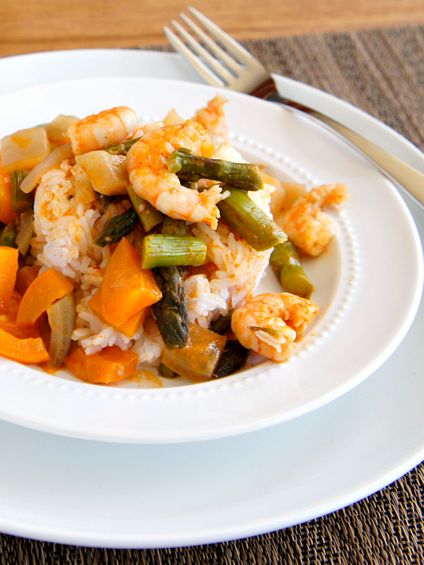Red Thai Curry with Shrimp and Asparagus