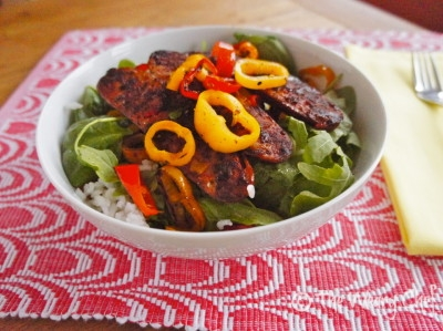Sausage Rice Bowl with Peppers and Wilted Greens - wearychef.com