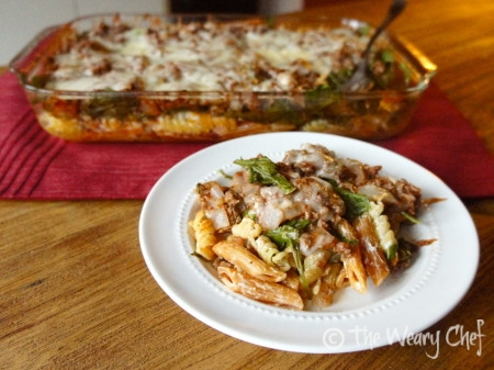 Layered Casserole with #beef, #spinach, and #pasta - wearychef.com