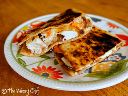 Chicken and Bean Quesadillas - #protein packed #dinner the family will love! by @wearychef