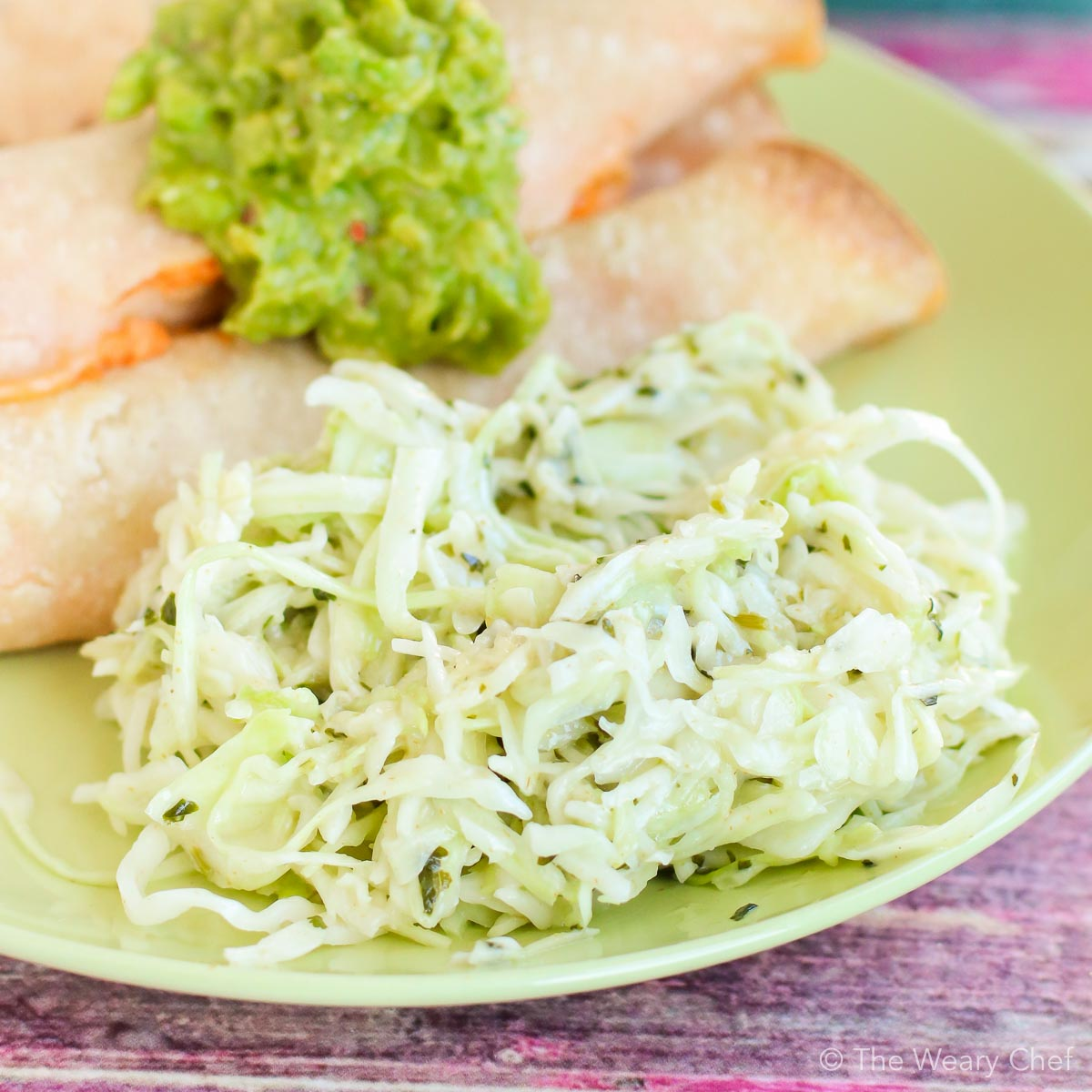 Mexican Coleslaw pairs perfectly with taquitos, enchiladas, or any Mexican fare!