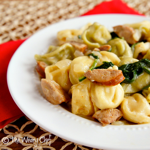 Cheese Tortellini with Sausage and Spinach in a Creamy Broth | The Weary Chef