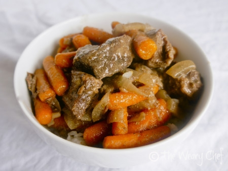 Slow Cooker Beef Tips over Rice - You'll love this easy dump and go #crockpot #recipe! wearychef.com