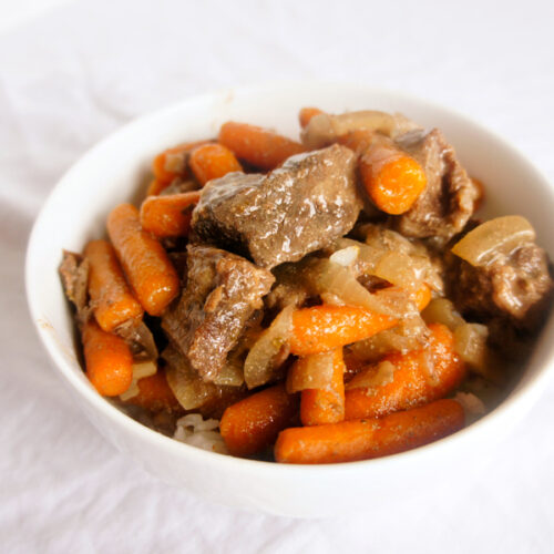 Slow Cooker Beef Tips over Rice - Inexpensive and easy crockpot recipe!