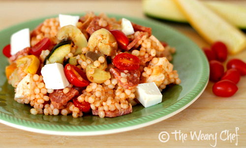 Pearl Couscous Antipasto Salad with Tomato Vinaigrette | The Weary Chef