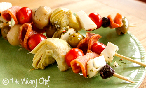 Antipasto Skewers by The Weary Chef | Shared at The Best Blog Recipes
