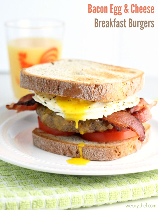 Bacon Egg and Cheese Breakfast Burger - wearychef.com