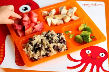 Kid dinner idea: Beans and rice with chicken, avocado, and fruit | The Weary Chef