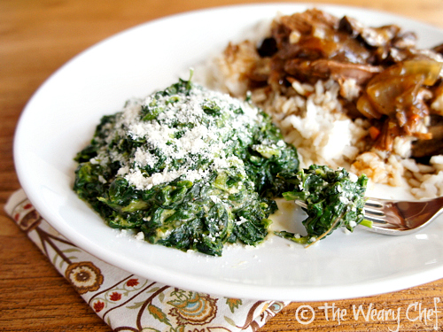Healthy Creamed #Spinach - All the flavor, none of the guilt! | The Weary Chef