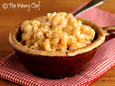 Creamy Easy Macaroni and Cheese - Stir cold ingredients with cooked pasta and bake for a deliciously cheesy side dish! | The Weary Chef