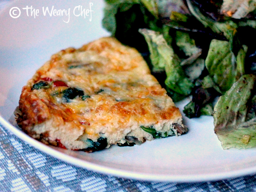 California Frittata Recipe with Spinach, Bacon, and Tomato | The Weary Chef #lowcarb