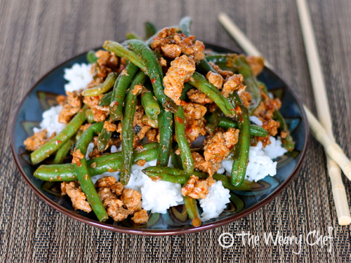 Asian Green Beans with Ground Turkey over Rice by @wearychef