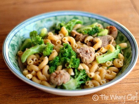 Easy kid friendly pasta dish with meatballs, broccoli, and parmesan | The Weary Chef