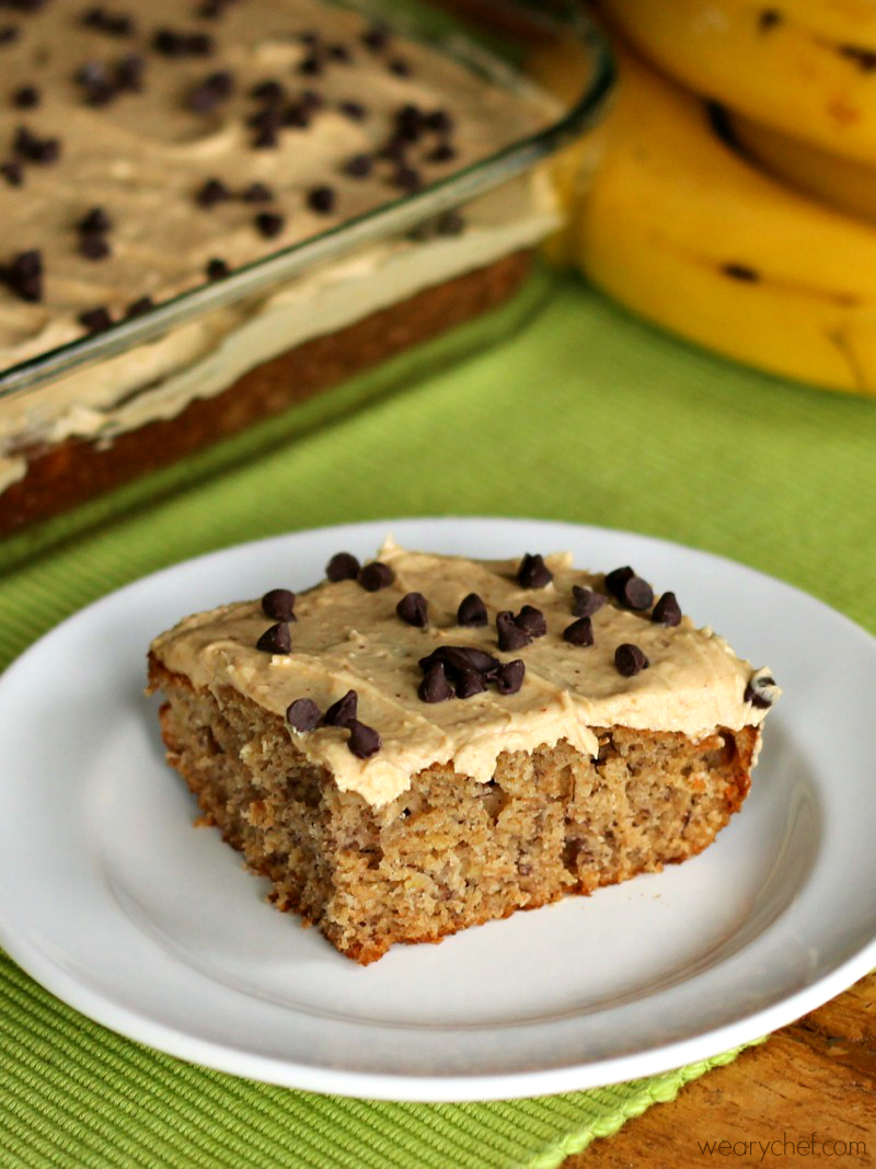 Banana Cake with Peanut Butter Frosting - The Weary Chef