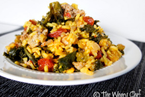 Saffron Rice with Sausage and Kale: Easy, healthy dinner in 30 minutes!