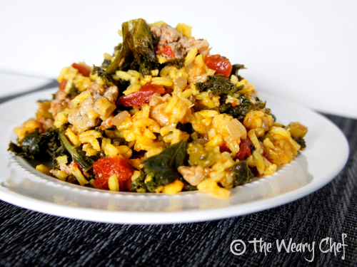 Saffron Rice with Sausage and Kale - An #easy #healthy #frugal #dinner! by @wearychef