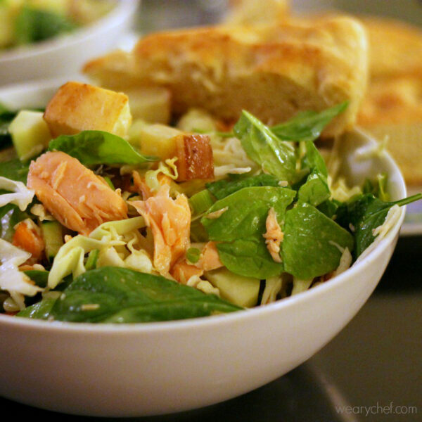 Spicy Salmon Salad with Roasted Potatoes - wearychef.com
