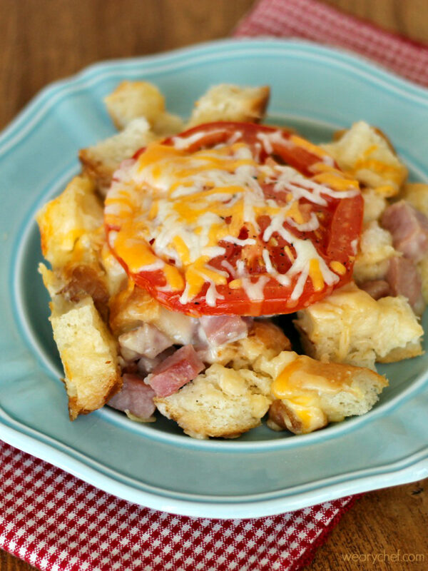 Ham and Cheese Sandwich Casserole: Cubes of sourdough and ham are smothered in a creamy cheese sauce and baked for a delicious dinner! - wearychef.com