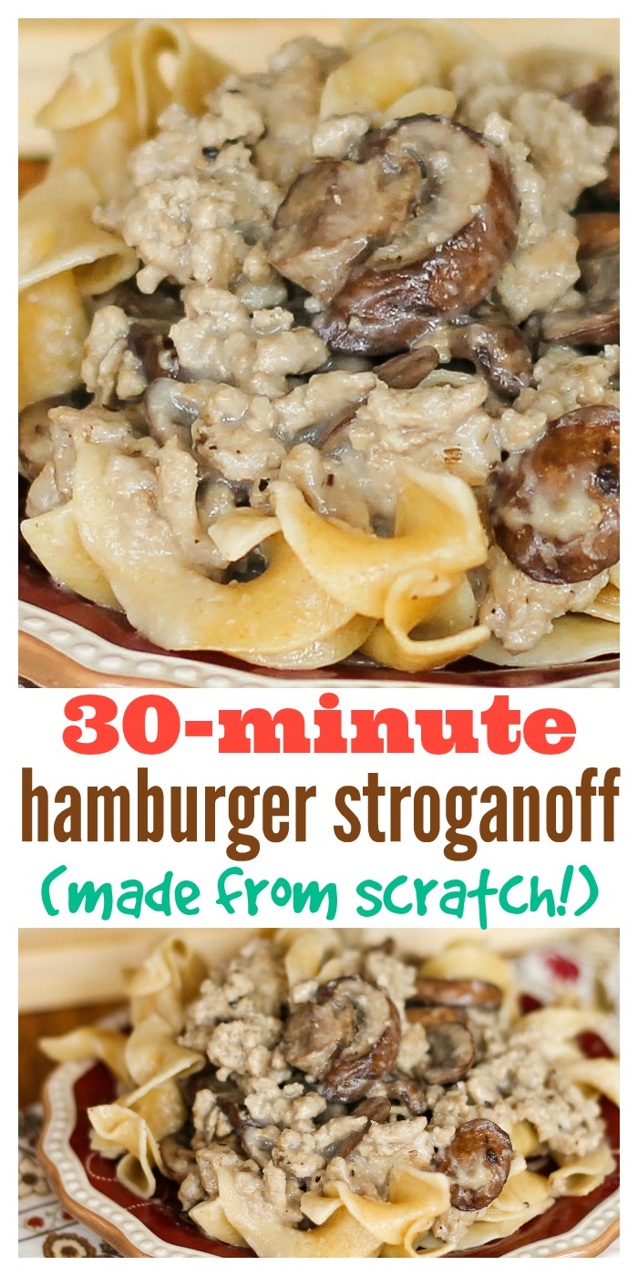 Your family will love this hearty, creamy ground beef stroganoff served over egg noodles. You will love that it's made from scratch and still ready in under 30 minutes. #stroganoff #groundbeef #easydinner #easyrecipe #thewearychef