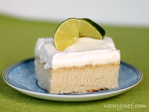 Lime Poke Cake (including a perfect white cake recipe | The Weary Chef #lime #dessert #cake