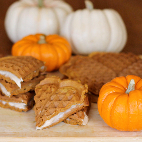 Pumpkin Cream Cheese Waffle Sandwiches | The Weary Chef