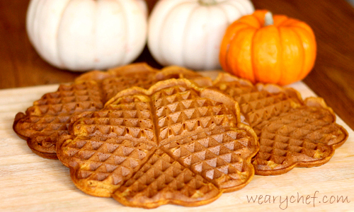 Pumpkin Waffle Cream Cheese Sandwiches | The Weary Chef #pumpkin #waffles