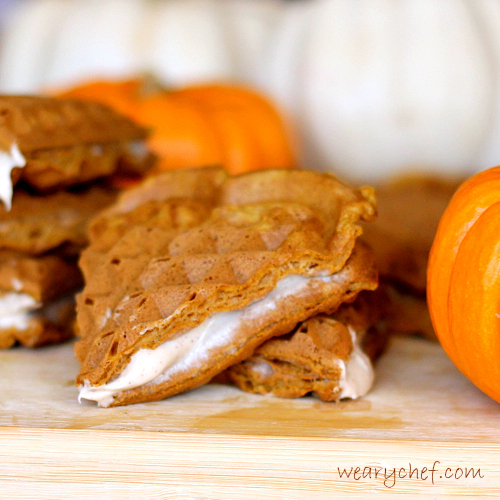 Pumpkin Waffles with Cream Cheese Filling | The Weary Chef