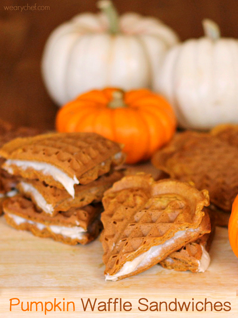 Pumpkin Waffles with Cream Cheese Filling - The Weary Chef