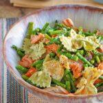 Pesto Pasta Salad with Smoked Salmon and Roasted Asparagus