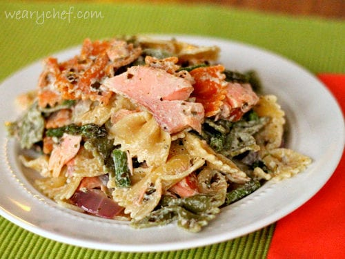 Pesto Pasta Salad with Smoked Salmon and Roasted Asparagus | The Weary Chef