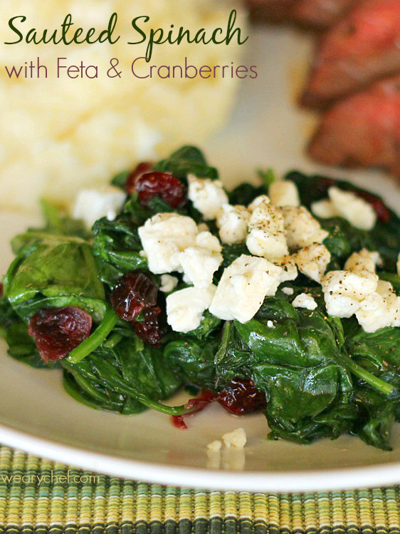 Sauteed Spinach with Feta and Cranberries - wearychef.com
