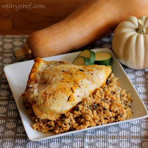 Baked Chicken with Pumpkin Rice: A delicious, easy fall #dinner!
