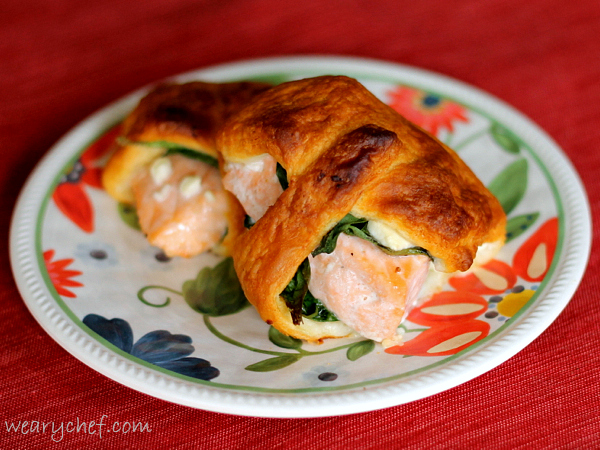Salmon Crescent Rollups with Spinach and Feta | The Weary Chef