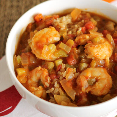 Healthy Shrimp Etouffee: Big on flavor and low in fat!