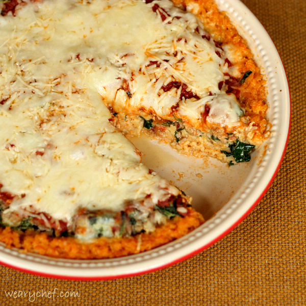 Deep Dish Pizza with Pasta Crust