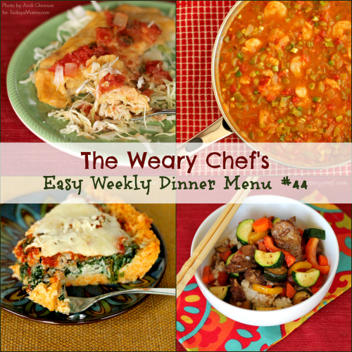Easy Weekly Dinner Menu 44 including Creamy Enchiladas, Crockpot Asian Beef, Deep Dish Pizza with Pasta Crust, Healthy Shrimp Etouffee, and lots more! #mealplanning