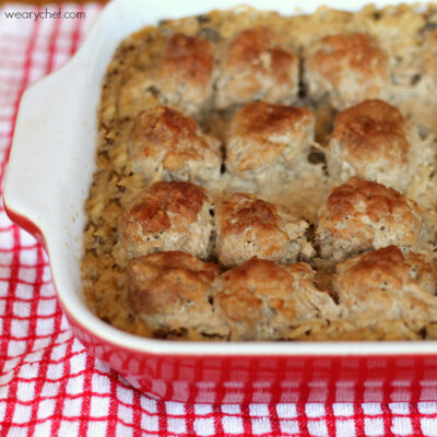 Simple Baked Meatballs with Rice and Gravy
