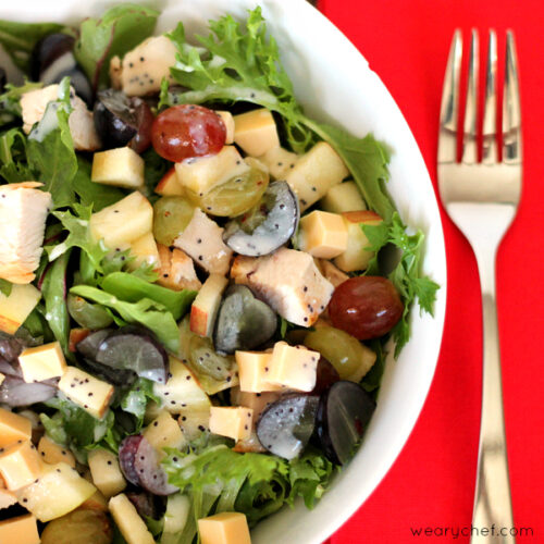 Chicken Dinner Salad with Grapes and Gouda #salad #healthy