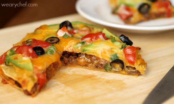 loaded mexican pizza recipe the weary chef. Black Bedroom Furniture Sets. Home Design Ideas
