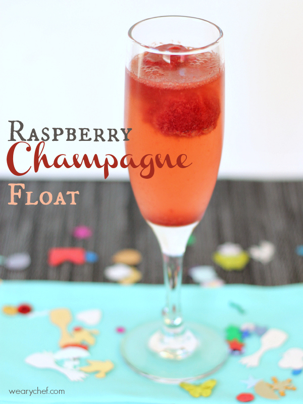 Raspberry Champagne Float #NewYears #cocktail